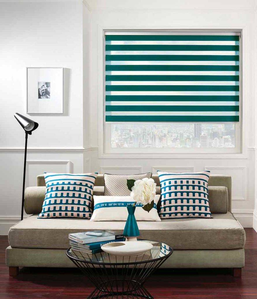 Living room with green blinds