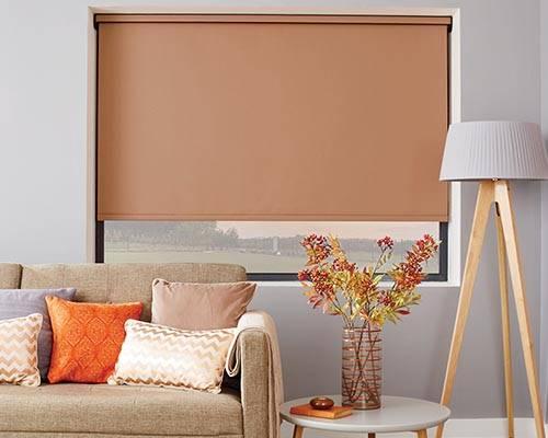 louvolite roller blind in copper