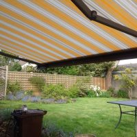 striped yellow and white awning