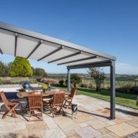 modern canopy providing seating area looking over the hills