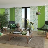 green window blinds in modern living room